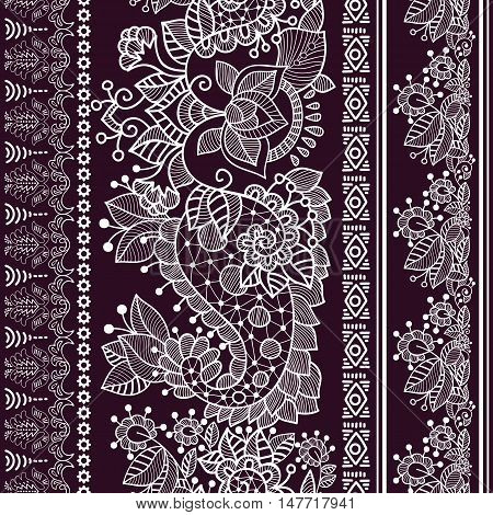 lace bohemian seamless border with floral elements. Retro roses pattern, floral ornament, geometric stripes. French, Italian, Spanish motif