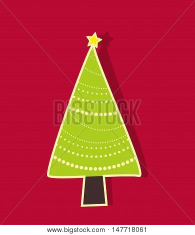 Red Christmas tree on a red background