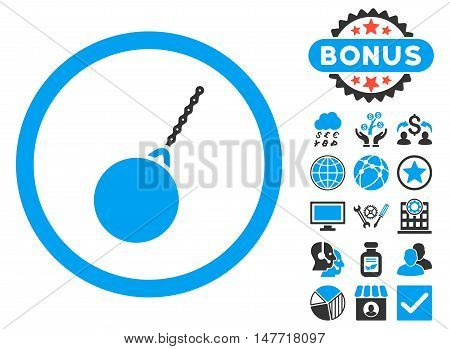 Destruction Hammer icon with bonus design elements. Vector illustration style is flat iconic bicolor symbols blue and gray colors white background.