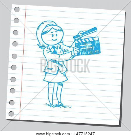 Businesswoman with clapboard