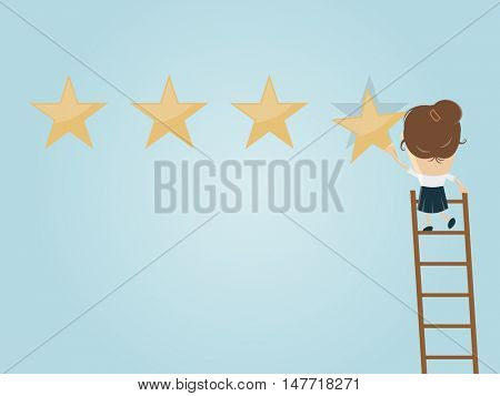 businesswoman attaching a premium quality star