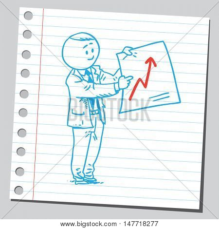 Businessman with economy diagram