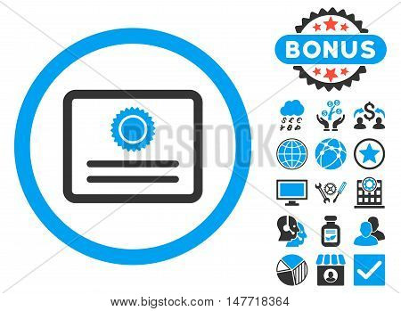 Diploma icon with bonus images. Vector illustration style is flat iconic bicolor symbols blue and gray colors white background.