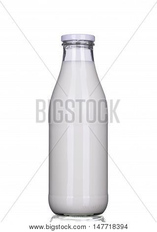 Single bottle of milk isolated clipping-path included vertical position closeup.