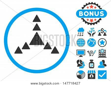 Direction Triangles icon with bonus pictures. Vector illustration style is flat iconic bicolor symbols blue and gray colors white background.