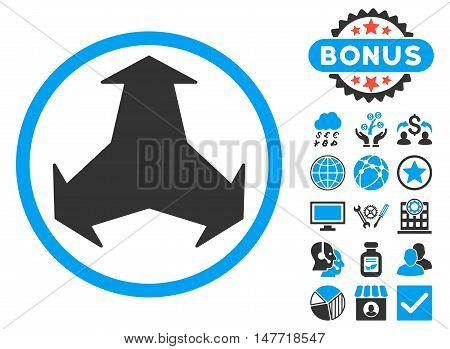 Directions icon with bonus pictures. Vector illustration style is flat iconic bicolor symbols blue and gray colors white background.