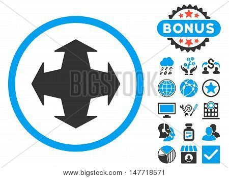 Directions icon with bonus design elements. Vector illustration style is flat iconic bicolor symbols blue and gray colors white background.