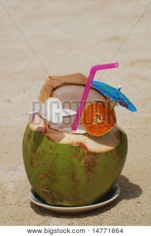 Tropical cocktail on the beach