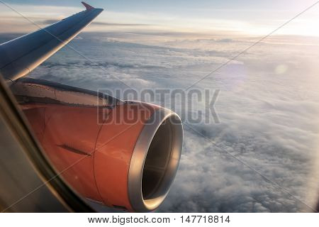 looking through a window of a big jet plane