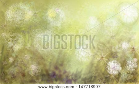Background with abstract plants.Multi-colored spots, lines and blots in the conventional vegetable background. Horizontal illustration.