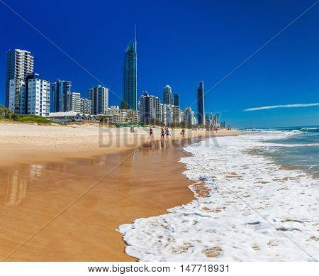 SURFERS PARADISE, AUS - SEPT 05 2016 Skyline and a beach of Surfers Paradise, Gold Coast. It one of Australia's iconic coastal tourist destinations.