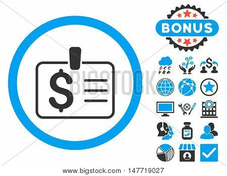 Dollar Badge icon with bonus symbols. Vector illustration style is flat iconic bicolor symbols, blue and gray colors, white background.