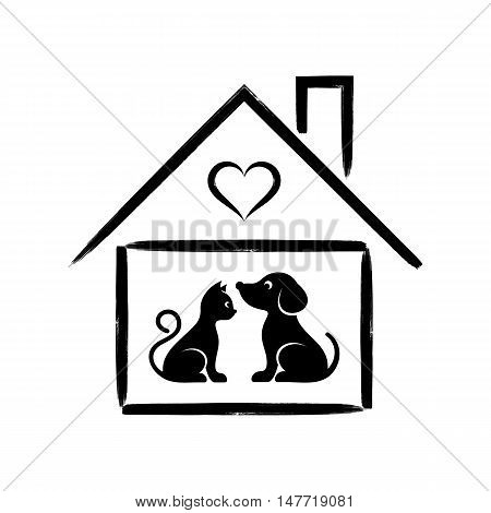 Pet shop or clinic sign cat and dog