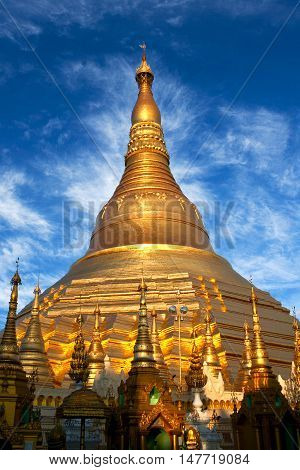Shwedagon Pagoda in Yangon, Myanmar. The pagoda is situated on Singuttara Hill and dominates the Yangon skyline.