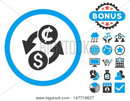 Dollar Cent Exchange icon with bonus pictogram. Vector illustration style is flat iconic bicolor symbols, blue and gray colors, white background.