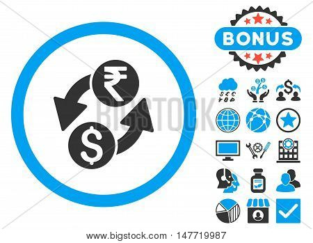 Dollar Rupee Exchange icon with bonus symbols. Vector illustration style is flat iconic bicolor symbols, blue and gray colors, white background.