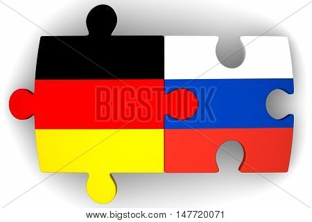 Cooperation of Russia and Germany. Puzzles with flags of the Russian Federation and Germany on a white surface. The concept of coincidence of interests in geopolitics. Isolated. 3D Illustration