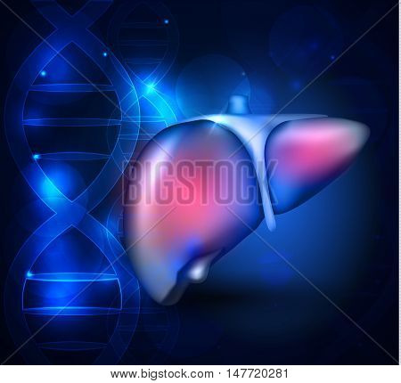 Liver Anatomy Abstract Blue Scientific Background With Dna Chain