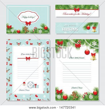 Christmas Templates Set. Greeting cards Banners Letters from Santa Claus labels and stickers