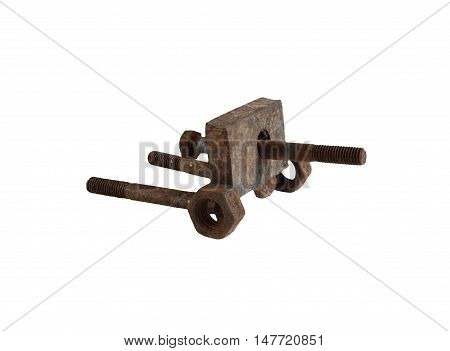 Cannon assembled from rusted bolts and nuts. Isolation on a white background without shadows.