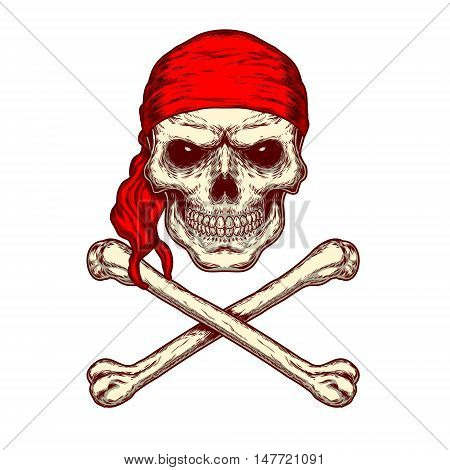 Vector illustration of a skull in red bandana and crossbones. Print for T-shirts