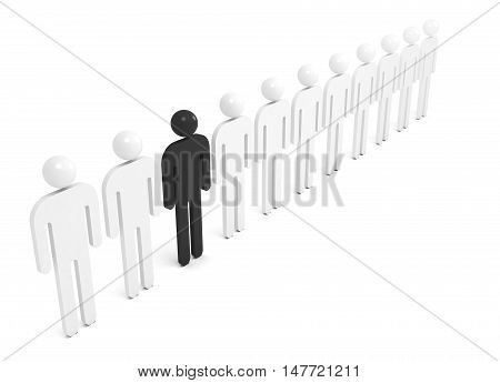 Row Of White Abstract People With One Black