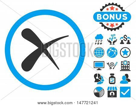 Erase icon with bonus images. Vector illustration style is flat iconic bicolor symbols, blue and gray colors, white background.