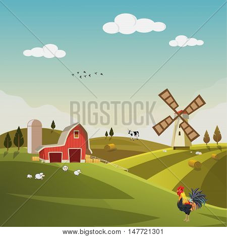 Farm field flat countryside landscape. Organic food agriculture concept for any design. Farmland with farm house, hay bale, barn, mill, windmill, sheep, cow, Background vector illustration.