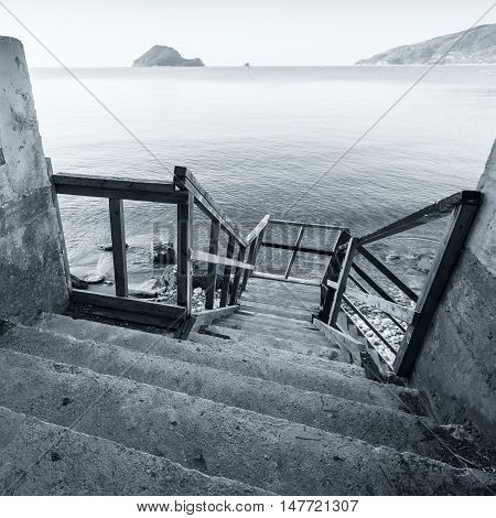Wooden Stairs On The Sea Coast