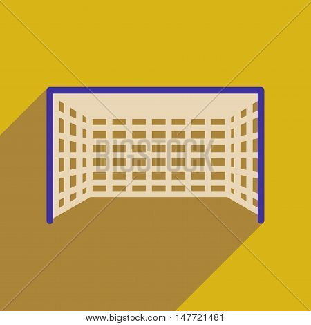 Flat web icon with long  shadow  football goal