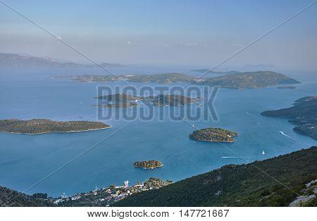 Small islands in the Ionian sea off the coast of the Lefkada in Greece