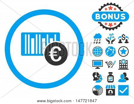 Euro Barcode icon with bonus pictogram. Vector illustration style is flat iconic bicolor symbols, blue and gray colors, white background.