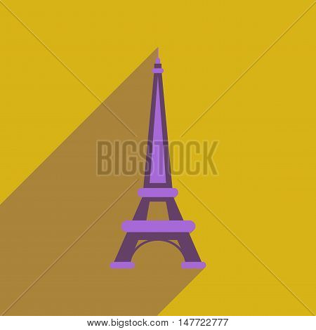 Flat web icon with long  shadow Eiffel Tower