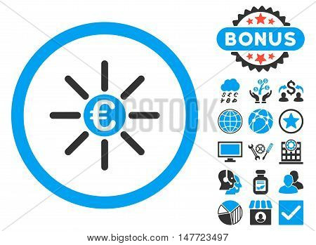 Euro Distribution icon with bonus elements. Vector illustration style is flat iconic bicolor symbols, blue and gray colors, white background.