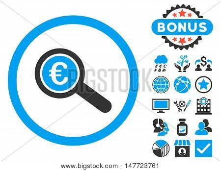 Euro Financial Audit icon with bonus symbols. Vector illustration style is flat iconic bicolor symbols, blue and gray colors, white background.