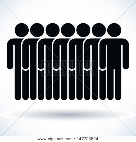 Black seven people man figure with gray drop shadow isolated on white background in flat style. Graphic design elements save in vector illustration 8 eps
