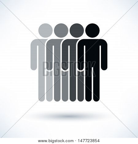 Black four people man figure with gray drop shadow isolated on white background in flat style. Graphic design elements save in vector illustration 8 eps
