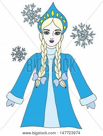 Colorful snow queen winter girl with snowflake. Element for adult coloring book page design.