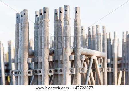 Close up of stack of construction scaffolding elements