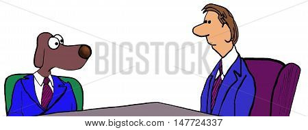 Color business illustration showing a businessman and a business dog in a meeting.