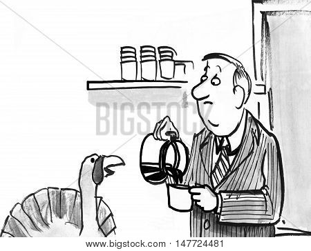 B&W Thanksgiving illustration of a turkey chatting with a coworker at work.