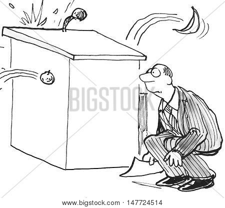 B&W illustration showing a man crouching behind a podium as rotten tomatoes are thrown at him.