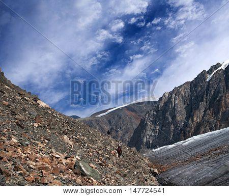 Road to Aktru Glacier in Altay Mountains, Russia