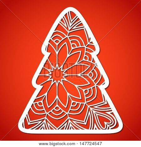 Openwork Christmas tree. Laser Cutting template for greeting cards decorations interior decorative elements.