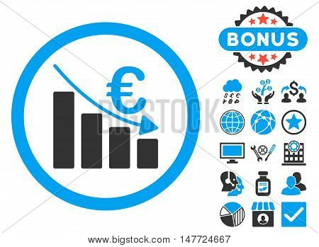 Euro Recession icon with bonus symbols. Vector illustration style is flat iconic bicolor symbols, blue and gray colors, white background.
