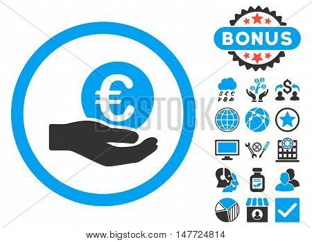Euro Salary Hand icon with bonus elements. Vector illustration style is flat iconic bicolor symbols, blue and gray colors, white background.
