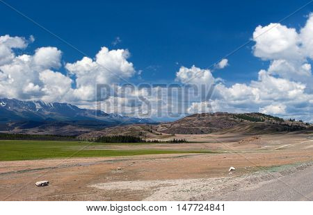 Altay mountains and Kuray steppe in Russia