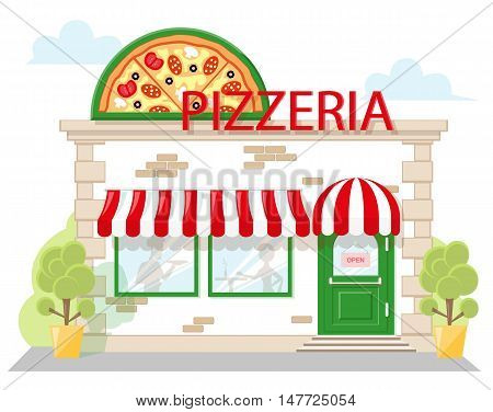 Facade pizzeria with a signboard awning and silhouettes people in shopwindow. Image in a flat design. Front shop for Concept brochure or banner. Vector illustration isolated on blue background