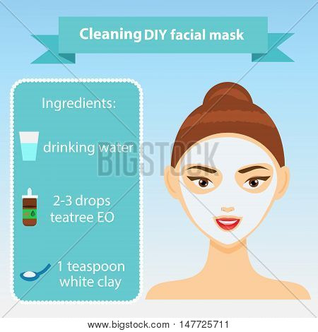 Young woman with facial mask. Vector illustration of recipe of cleaning clay mask for oily skin. Beauty infographics