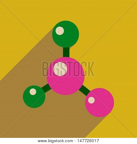 Flat web icon with long  shadow molecule